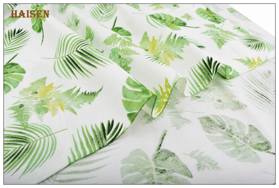 Haisen,Green Floral Series Cloth,Printed Twill Cotton Fabric For DIY Quilting&Sewing Baby&Child/Sheet,Pillow,Cushion Material