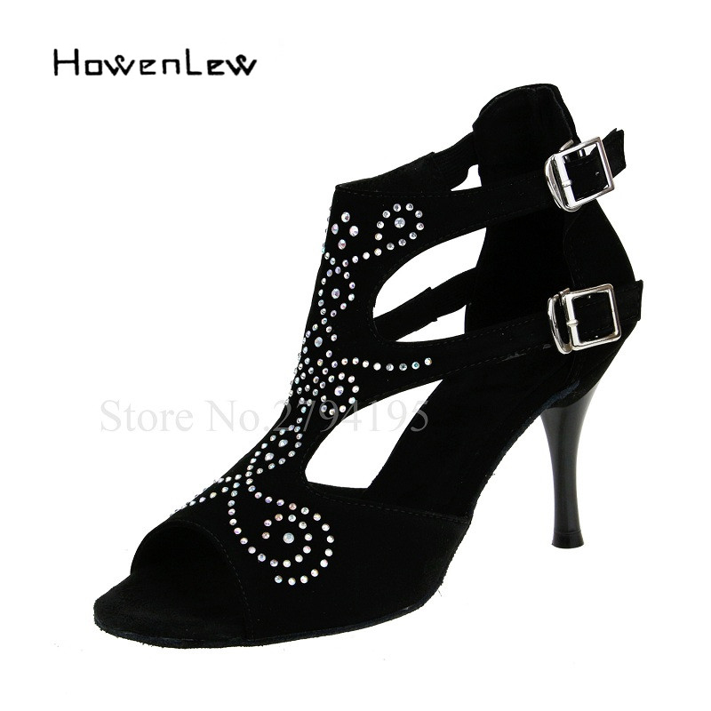 Salsa latine chaussures de danse de salon femme troupeau strass 8.5 cm talons hauts fille noire chaussures de danse pour les femmes Coupons pour remise