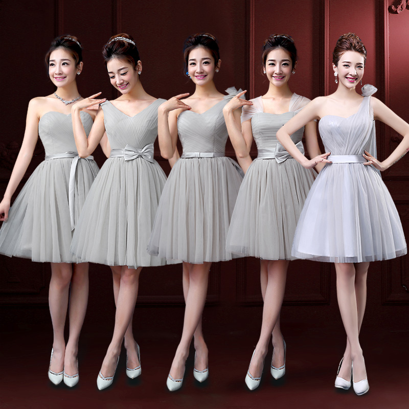 8b78910617 LC247M Grey Bridesmaid Dress Short Light Gray Lovely Bridesmaid Dresses  Sweetheart dress New