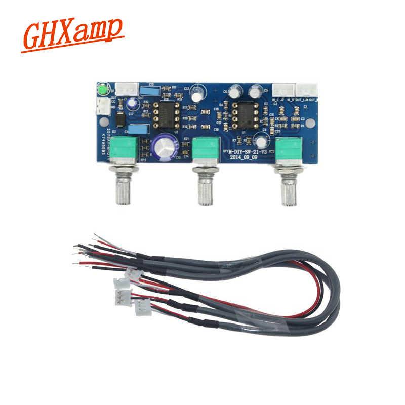 GHXAMP 2,1 сабвуфер предусилитель с фильтром нижних частот NE5532 предусилитель супер бас одного Мощность DC10-24V