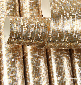 Luxury Glitter Wallpaper Vinyl Mosaic Tiles for Living Room Ceiling Wedding 3D Wall Paper Waterproof papel de parede Gold Silver designer wallpaper waterproof gold foil ktv ceiling mosaic wall paper kitchen living room home decor 10m papel de parede rolo
