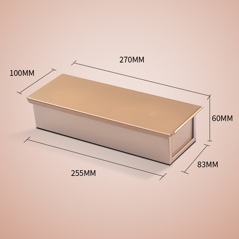 golden toast box with a lid rectangle alumium alloy cake loaf maker for diy bakeware kitchen accessories