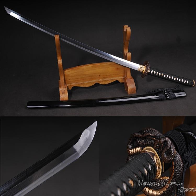 Ručně vyráběné Katana skládaný ocelový skutečný meč na prodej Dragon Tsuba rovný Hamon ostrost připraven k řezání papíru