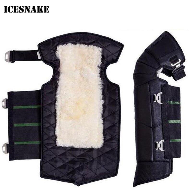 ICESNAKE Véritable En Cuir Trame Genoux Hiver En Plein Air Garder Au Chaud Moto Genouillères Sport Tactique Protection Genou Protecteur