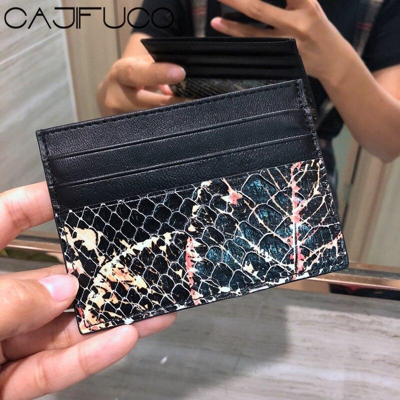 8fa95277680 CAJIFUCO Python Skin Porte Carte Snakeskin Credit Card Holder Animal Leather  Coin Purse