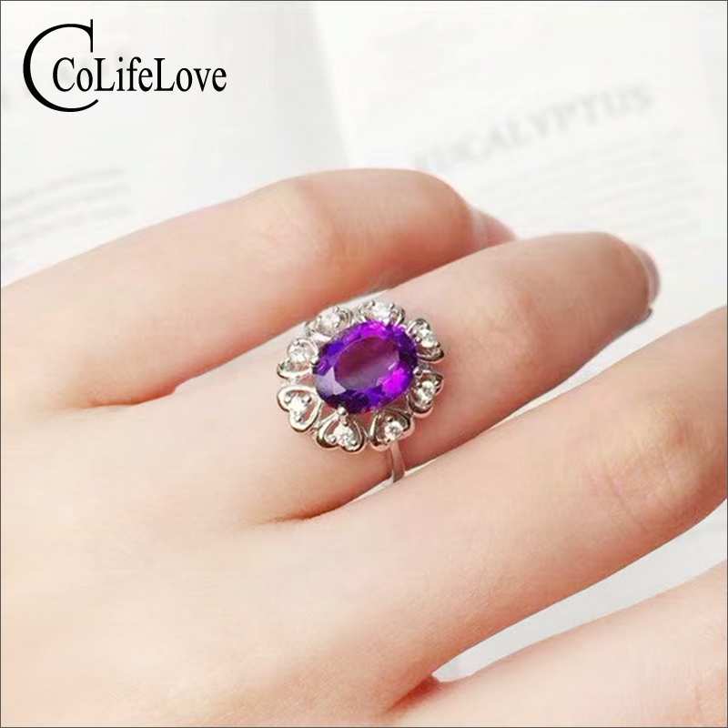 CoLifeLove Amethyst Ring for Woman 6mm*8mm Natural Amethyst Silver Ring Solid 925 Silver Amethyst Jewelry Birthday Gift for GirlCoLifeLove Amethyst Ring for Woman 6mm*8mm Natural Amethyst Silver Ring Solid 925 Silver Amethyst Jewelry Birthday Gift for Girl