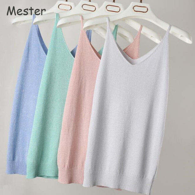 Summer Candy Color Tank Top Women Shiny Ice Silk Knitted Sleeveless Vest Top  Quality Sexy Deep