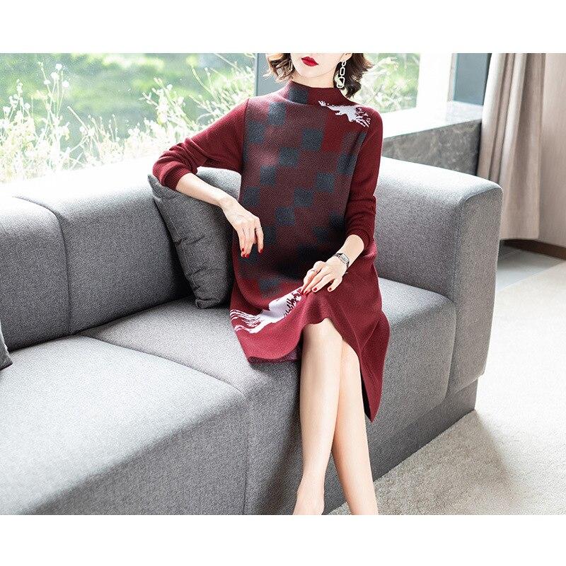 Эластичные трикотажные Лоскутная Половина свитер с высоким воротом платье 2018 Новый Полный рукавом Женщины Осень свободные линия одноцветн