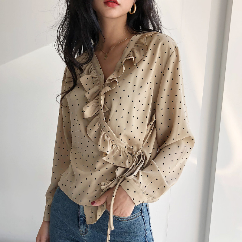 2019 Spring V-neck Ruffles Polka Dot Women's   Shirt   Feminine Lace UP   Blouse   Top Long Sleeve Casual Women Loose   Blouses   blusas