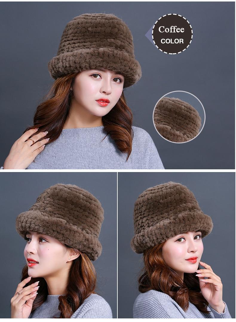 Luxury Natural Fur hats Fur Bucket Hat Russian Real Rex Rabbit Fur Hat Female Solid Women\`s Winter Cap Ladies (25)