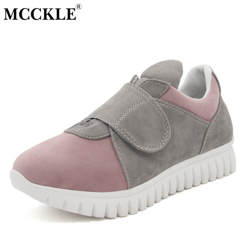 MCCKLE Ladies Flat Hook Loop Slip On Casual Shoes 2017 Women's Fashion Comfortable Autumn Flock Platform Black Style Footwear mcckle 2017 fashion woman shoes flat women platform round toe lace up ladies office black casual comfortable spring