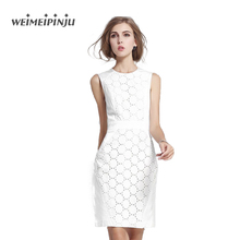 Women's Summer Dresses 2017 New Elegant White Lace Formal Cotton Dress Plus Size Clothing Femme Work Office Midi Wrap Dress