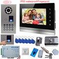 SUNFLOWERVDP Wired Video Door Phone 7Inch TFT Color LCD Inner Door Bell Fingerprint/Code Unlock Touch Button Intercom Video Kit