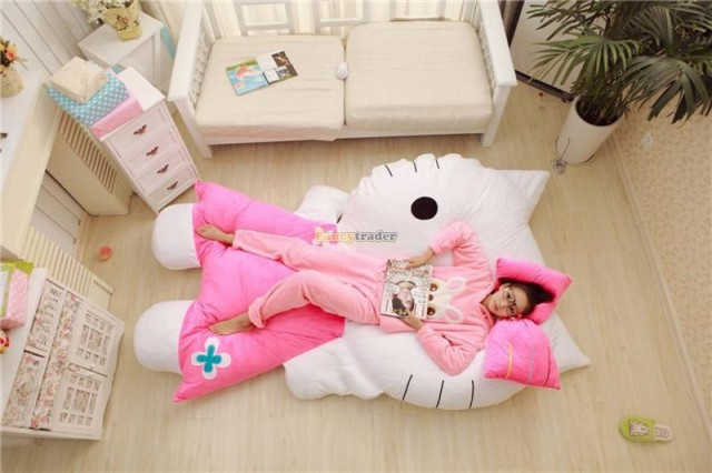 Fancytrader 2015 New 200cm X 150cm Huge Giant Cute Pink Hello Kitty Tatami Bed Carpet Sofa Gift For Girls, Free Shipping FT90292