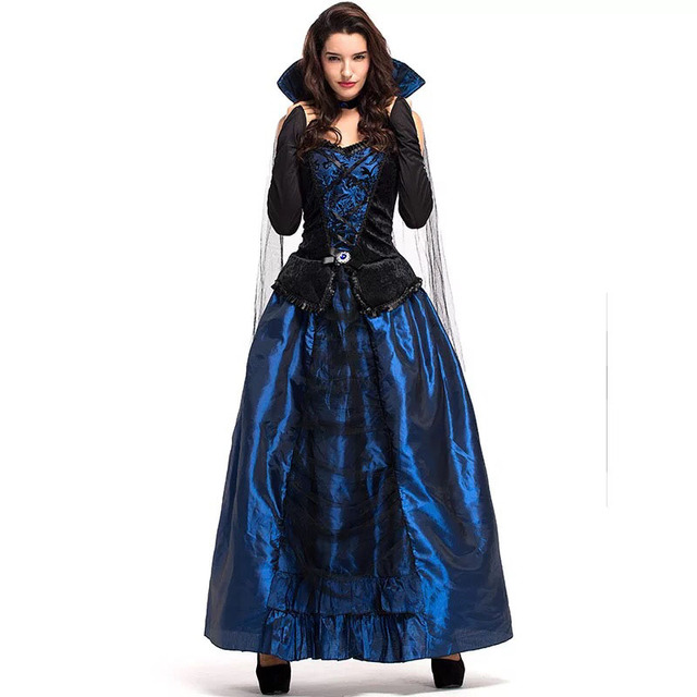 2af9cfdfa5138 US $26.95 8% OFF|Adult Women Halloween Court Wizardress Evil Queen Of  Vampire Medieval High Stand Collar Blue Gothic Gown Robe Dress For  Ladies-in ...