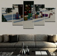 Modern Modular Pictures Canvas Game Poster HD Printed Wall Art 5 Pieces Home Decor Christmas Minecraft Painting Framework 5 pieces minecraft painting wall art modular pictures canvas printed modern artwork pictures wall decor game poster home decor