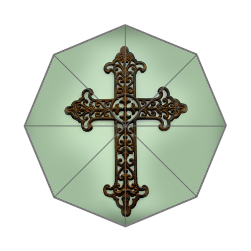 Original custom rustic metal cross with scroll design for Origine metal resinence