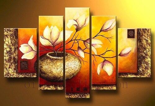 """Multi panel 5 частей """"золотой флакон Elegent Цветы"""" Ручная роспись современный масло Картины на холсте стены Книги по искусству набор для гостиной"""