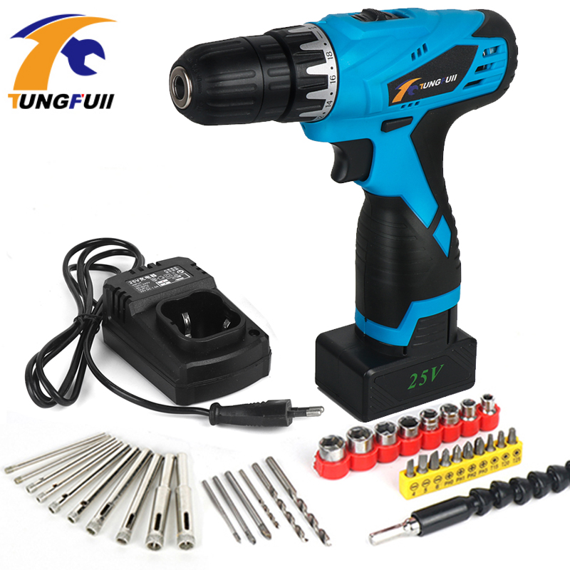 Tungfull Multifunction Cordless Screwdriver Electric Drill Driver Lithium Battery Rechargeable Rotary Power Tools Diy 25V