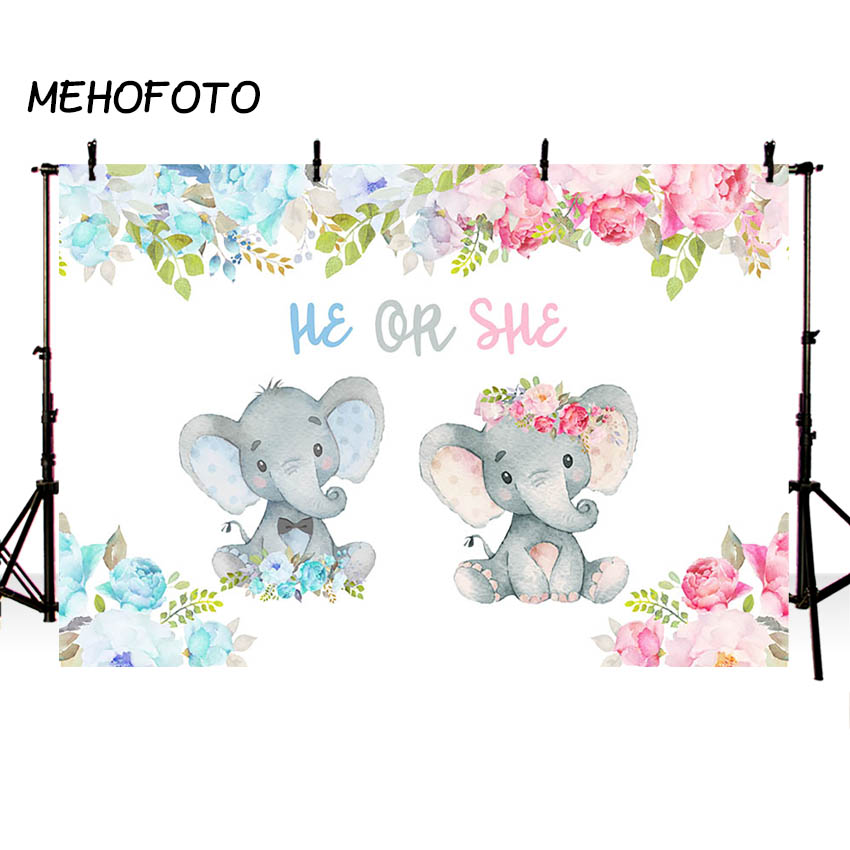 New Rustic Elephant Gender Reveal Baby Shower He or She Photography Backdrop Boy or Girl Shiny Lights Green Leaves Red Floral Little Peanut Wood Photography Background Photo Banner 7x5ft