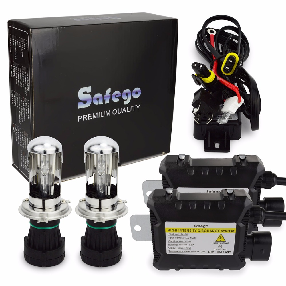 Safego H4-3 35w car bixenon hid kit h4 Bi xenon high low h4 Hi Lo 5000k 6000k 8000k 4300k 12000k for Car Headlights