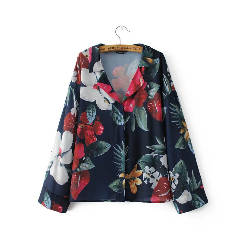L143  new collection women vintage huge floral print turn down collar long sleeve vintage blouse shirt ladies blusas streetwear