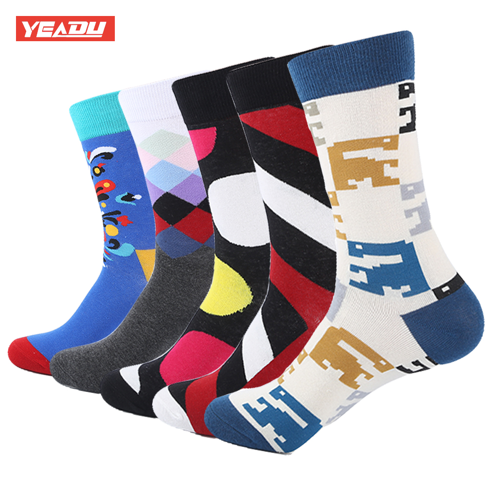 YEADU 5 Pair/Lot Funny Mens Colorful Combed Cotton Fashion Socks Striped Dots Casual Party Dress Socks Men
