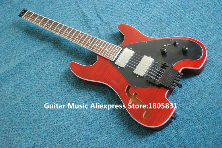 red no head electric guitar headless china guitars new arrival wholesale free shipping in guitar. Black Bedroom Furniture Sets. Home Design Ideas