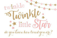 custom Twinkle Twinkle Little Star Gold Pink Aqua photography backgrounds   Computer print children kids backdrops|Background| |  -
