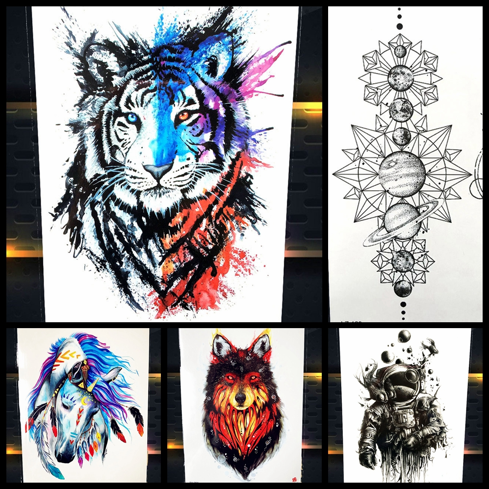 Tato Art Styles: 25 Styles New Watercolor Tiger Fox Wolf Temporary Tattoo