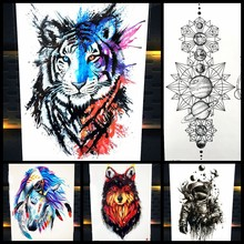 c7f2c1f76 25 Styles New Watercolor Tiger Fox Wolf Temporary Tattoo For Men Women Fake  Tatoo Body Art Decals Waterproof Arm Tattoo Stickers