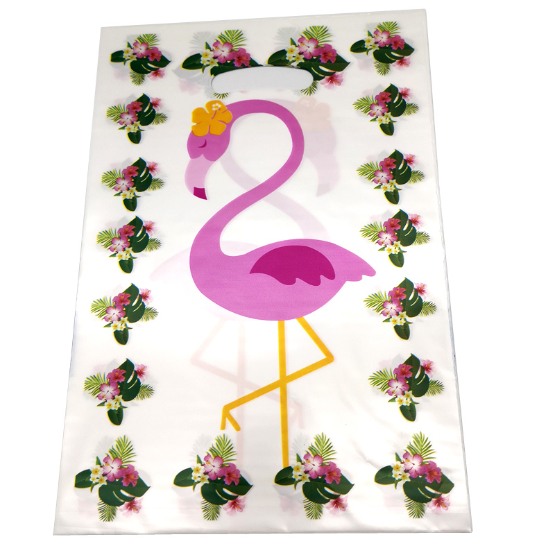20pcs/pack Happy Baby Shower Events Party Kids Favors Flamingos Theme White Plastic Loot Bags Birthday Decorate Gifts Bags