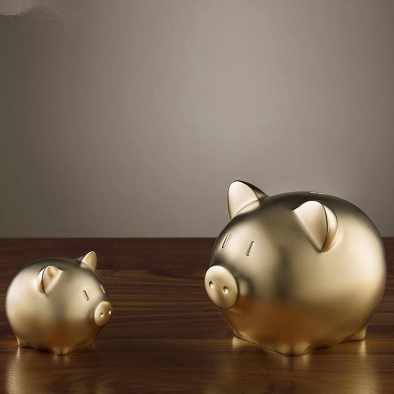 Moderne porte-bonheur or cochon Statue en laiton Feng Shui cochon Sculpture Souvenir Miniature Animal Figurine Mini décoration Art cadeau R292