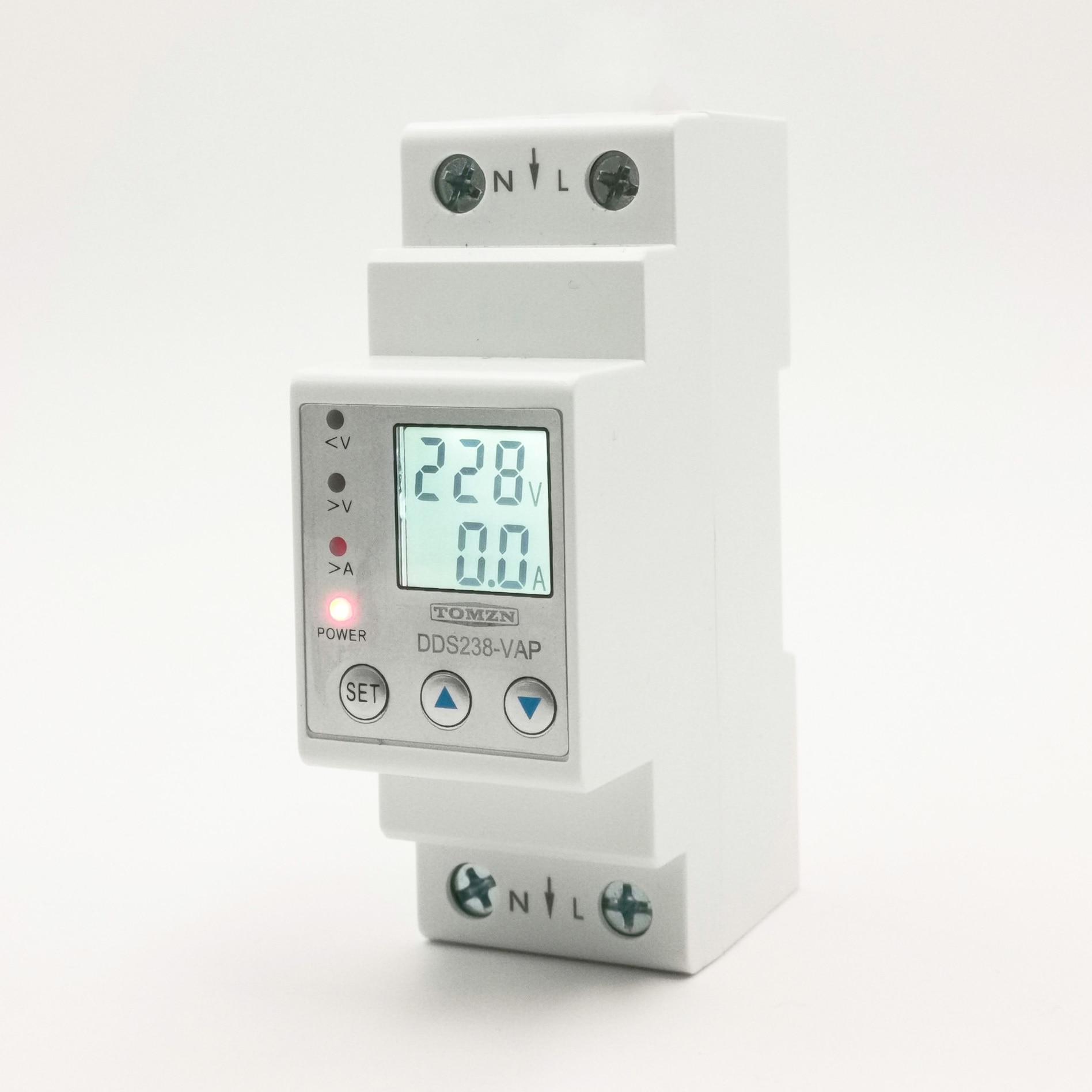 63A 80A 110V 230V din-рейка регулируемое под напряжением защитное устройство предельная защита тока Вольтметр Амперметр кВт-ч