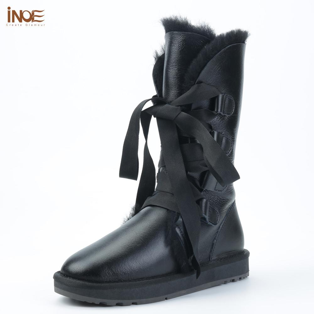 INOE fashion lace up snow boots for women sheepskin leather natural sheep wool fur lined girls winter shoes waterproof black-in Knee-High Boots from Shoes    1