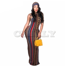 CUERLY Striped Printed Vintage Bohemian Dress Women O Neck Sleeveless Plus Size Casual Vocation Maxi With Head Scarf