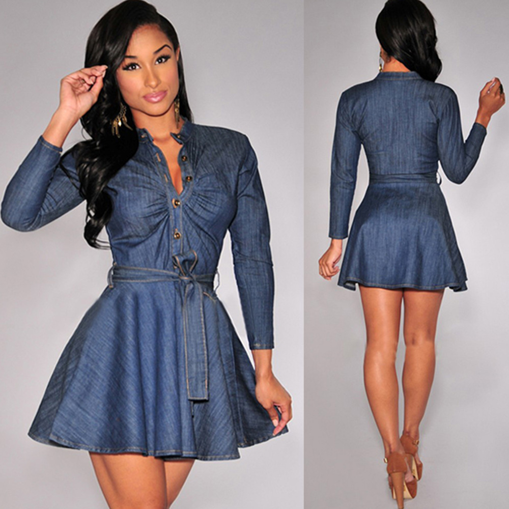 Us 1499 Women Fall Chic Denim Dress Jean Wrap Party Shirt Dresses Long Sleeve Belted Button Down White Crochet Lace Edge Skater Dress In Dresses
