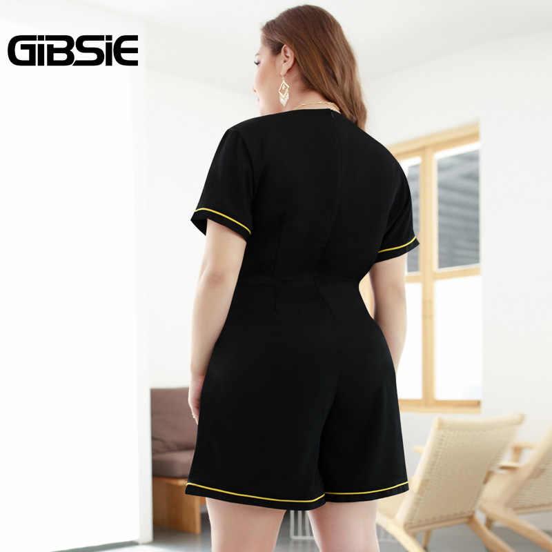 GIBSIE 4xl большой размер Женская одежда летняя новая мода обертывание V шеи комбинезон женский плюс размер Повседневный Карманный игровой костюм с коротким рукавом