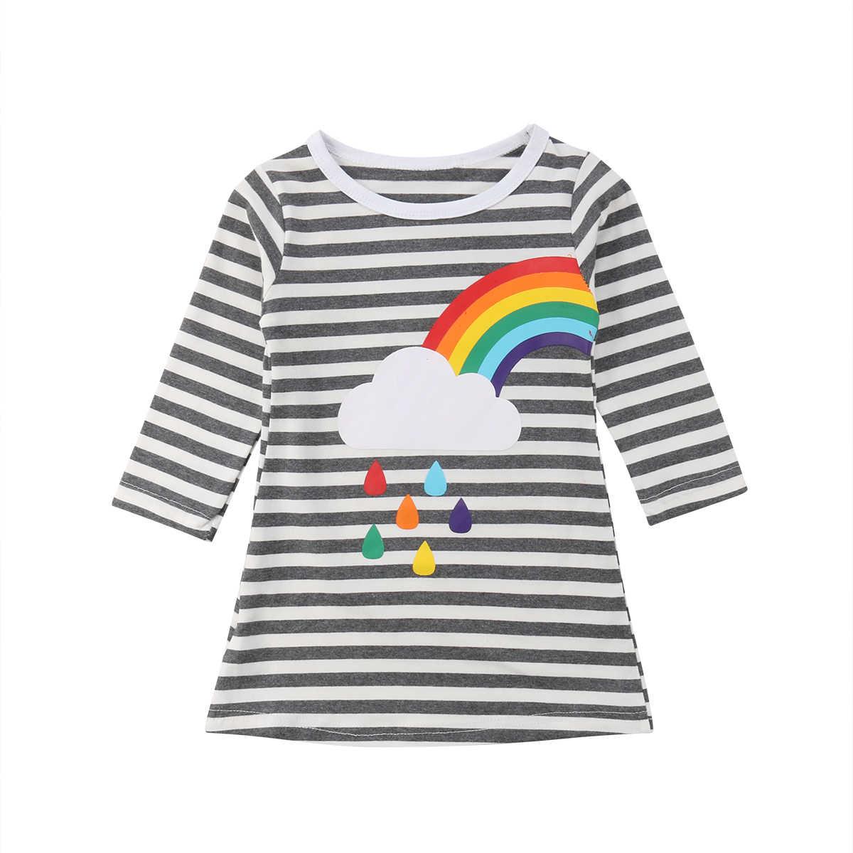 Осенне-зимнее платье для девочек-сестер праздничные платья принцессы с радугой для девочек, сарафан в полоску, одежда для детей ясельного возраста