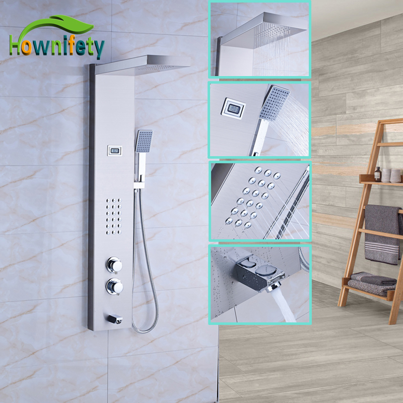 Thermostatic Shower Panel Solid Brass Shower Faucet Sets Rainfall Shower Head with Hand Shower Wall Mount
