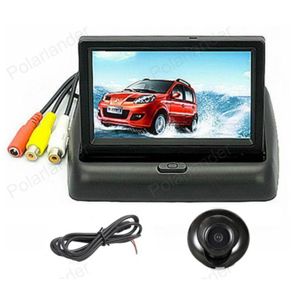 4.3 Inch 16 : 9 screen DC 12V Car Monitor 2 Video Input TFT LCD display with 360 degree rear view reverse camera