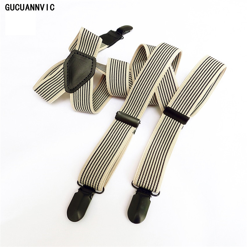 GUCUANNVIC Men Women Suspender Elastic Casual New Fashion Black Stripe Braces High Quality Clip Adjustable Suspenders For Jeans