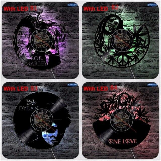 بوب مارلي وان لوف للحبيب الريغي ساعة فينيل Led الخفيفة خمر LP سجل هدية يدوية مصباح ظلية ديكوري
