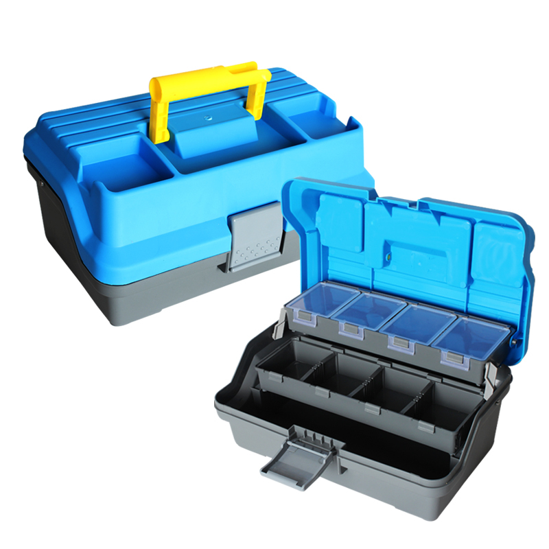 3 layer big fishing tackle box box plastic handle for Large tackle boxes for fishing