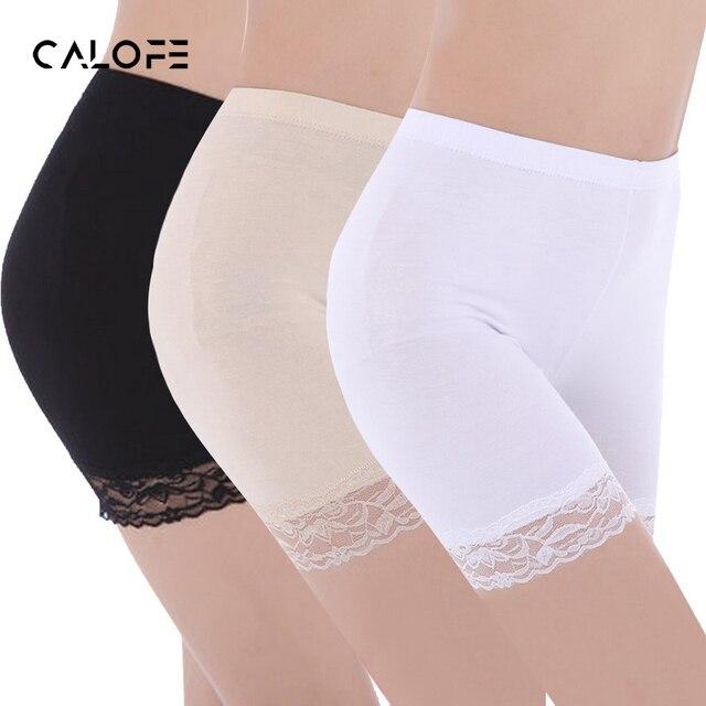 43f73cbb3 CALOFE 2 pçs set Mulheres Calças Curtas de Segurança Elástica Anti Atrito  Atrito Lace Coxa