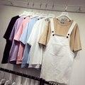 6 colores de verano tops 2016 estilo coreano ulzzang más el tamaño solod color manga corta camisas para ( A7094 )