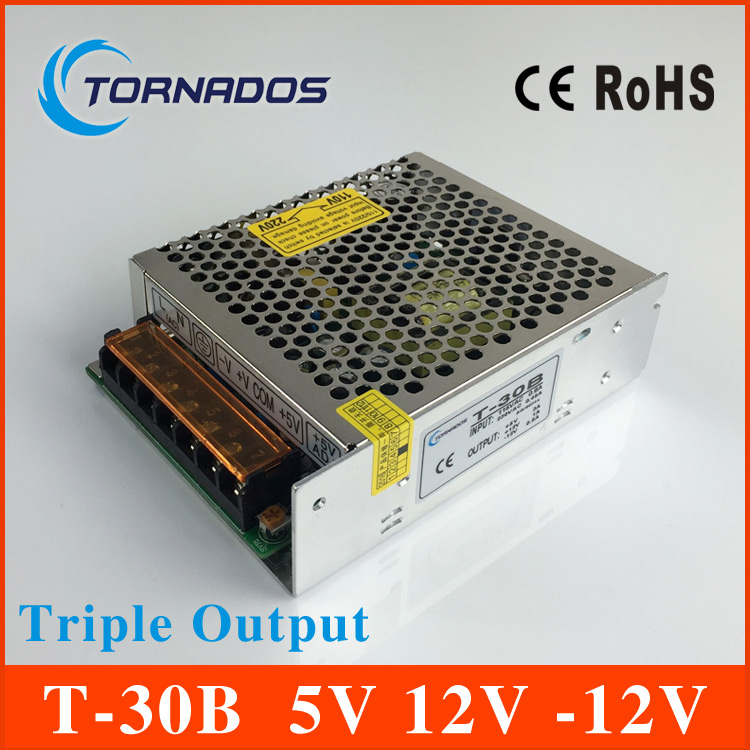 T-30B Triple Output Switching power supply 30w 5V 3A 12V 1A -12V 0.5A  ac dc converter meanwell 12v 350w ul certificated nes series switching power supply 85 264v ac to 12v dc
