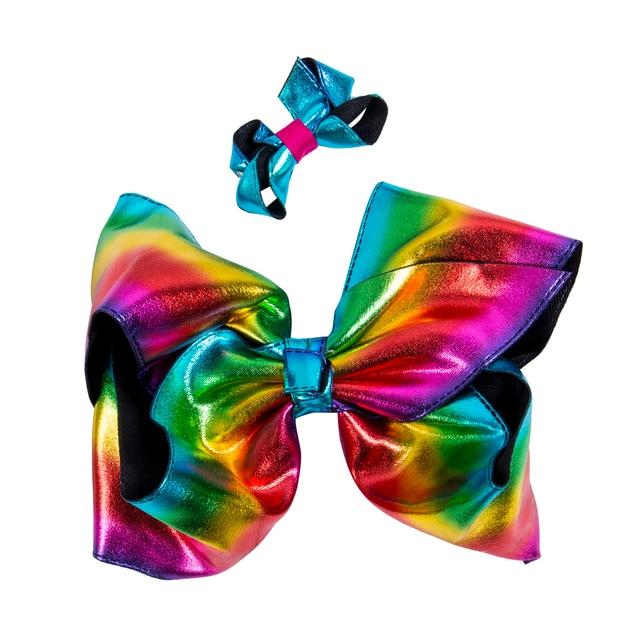 Jojo Large 8 Rainbow Hair Bow Leather Bowknot Hairpi Explosion Tie Dye