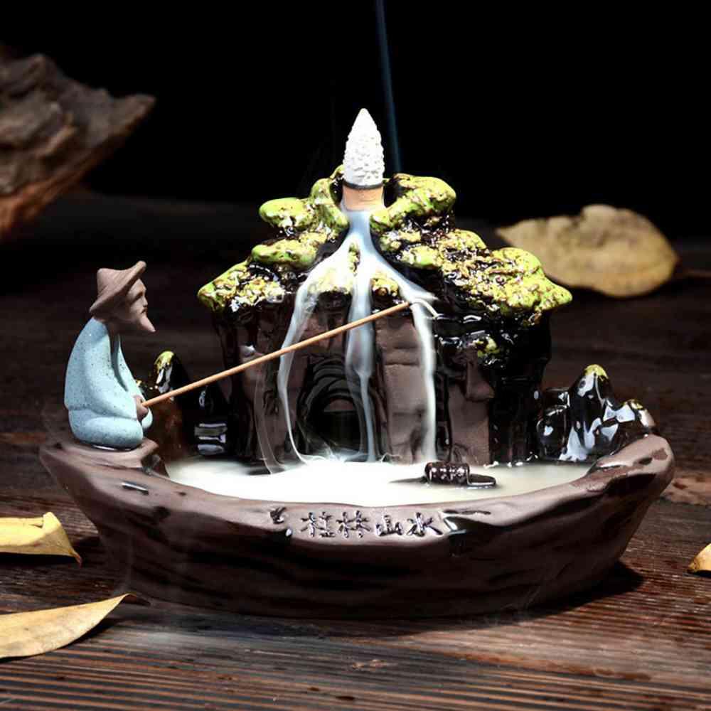 Brûleur d'encens rétro-flow en céramique fumée cascade porte-encens encensoir créatif traditionnel chinois décor à la maison méditation