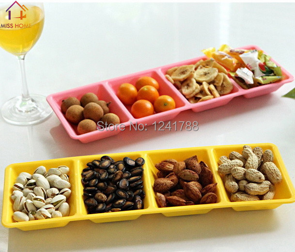 (4 pcs/lot) Plastic Divided Tray Food Plates Fruits Dishes Cake Tray Serving & 4 pcs/lot) Plastic Divided Tray Food Plates Fruits Dishes Cake Tray ...